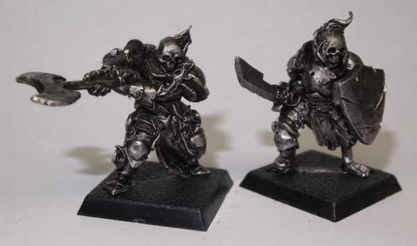 2 skeleton knight miniatures