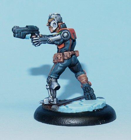 scifi miniature with pistol