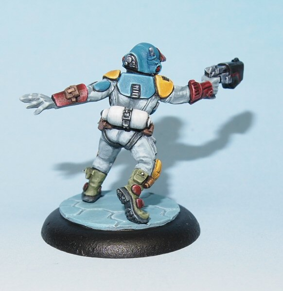 Rear view of Dirk Scifi mercenary miniature